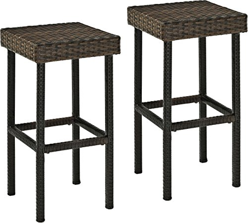 Crosley Furniture Palm Harbor Outdoor Wicker 29-inch Bar Stools - Brown (Set of -
