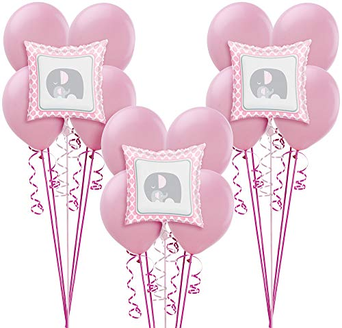 Party City Pink Baby Elephant Balloon Supplies, Include 15 Latex Balloons, 3 Foil Balloons, and Matching Curling Ribbon for $<!--$16.99-->