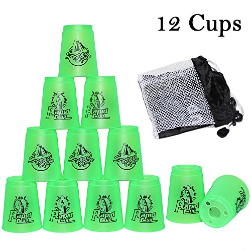 Quick Stack Cups - Speed Training Sports Set of 12 with Quick Release Stem by Armix (green)