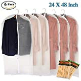 Clear Garment Bags 24''×48'' Full Zipper Moth Proof Garment Covers with Insect Repellent Moth-proofing Camphor Wood Set for Clothes Storage Suits Dresses Dance
