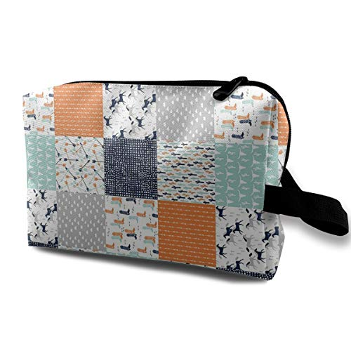 MKJHACKE Western Cheater Quilt Nursery Baby Toiletry Bag Multifunction Cosmetic Bag Portable Makeup Pouch Waterproof Travel Hanging Organizer Bag for Women Girls