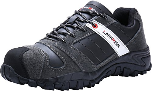 Steel Composite Toe (LARNMERN Work Shoes for Men, LM-18 Men's Steel Toe Safety Shoes Composite Toe Breathable Comfortable Footwear, Black/Grey, 11 D(M) US)