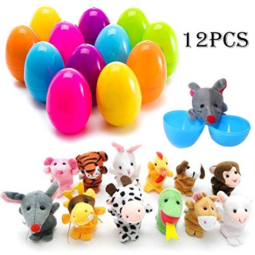 Uspacific 12Pcs Animal Finger Puppets Eggs, Animal Hand Puppets Plush Toys for Baby Story Time, Basket Stuffers Fillers and Theme Party Favor