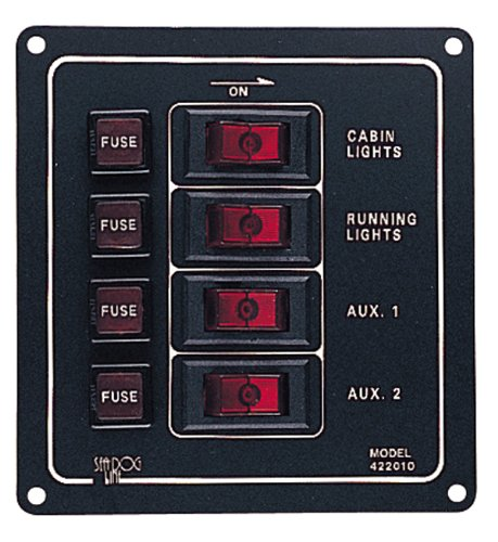 Sea Dog 422010-1  Aluminum Vertical 4-Switch Panel