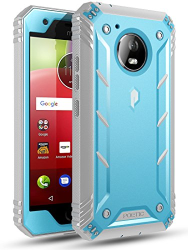 Poetic Revolution Moto E4 Rugged Case with Hybrid Heavy Duty Protection and Built-in Screen Protector for Moto E4 /Motorola Moto E 4th Generation Blue/Gray ()