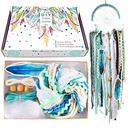 DIY Dream Catcher Kit Birthday Gift Aqua Blue Make Your Own Craft Project from The House Phoenix