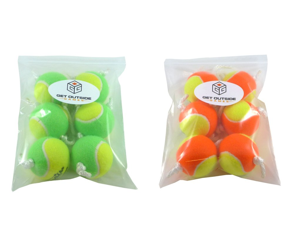 Get Outside Games Texas Toss Ball Kit - Tennis Balls for Ladder Toss/Ladder Golf/Hillbilly Golf (Green & Orange Ball Kit)