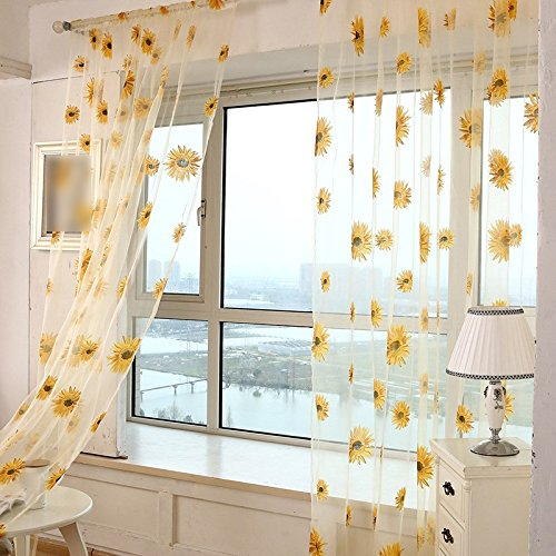 Translucidus Polyester Sunflower Tulle Curtains Living Room Kitchen Indoor Window Balcony Voile Curtain Home Textiles Yellow (Sunflower Medallion)