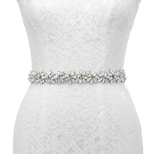 Rhinestone Floral Belt (Remedios Handmade Floral Flower Design Rhinestone Sash Belt For Bride Bridesmaid Girl Dress)