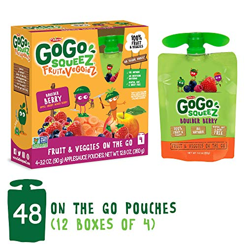 GoGo squeeZ Fruit & VeggieZ on the Go, Apple Carrot Mixed Berry, 3.2 Ounce (48 Pouches), Gluten Free, Vegan Friendly, Healthy Snacks, Unsweetened, Recloseable, BPA Free Pouches
