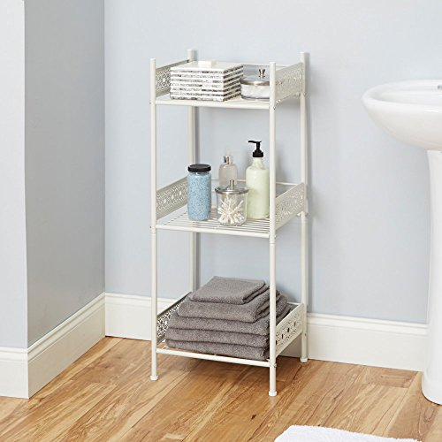 "Silverwood Filigree Bathroom Collection Floor Shelf, 36"" H, White"