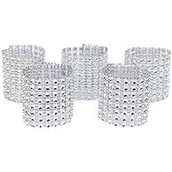 WORLDEXPLORER Set of 100 Napkin Rings Rhinestone Napkin Rings Adornment For Wedding Party Banquet Dinner Decor Wedding Favor (Silver)