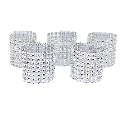 WORLDEXPLORER Set of 100 Napkin Rings Rhinestone Napkin Rings Adornment For Wedding Party Banquet Dinner Decor Wedding Favor (Silver)