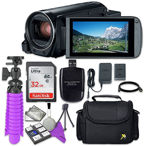 Canon VIXIA HF R80 Camcorder with Sandisk 32 GB SD Memory Card + Accessory Bundle by Canon