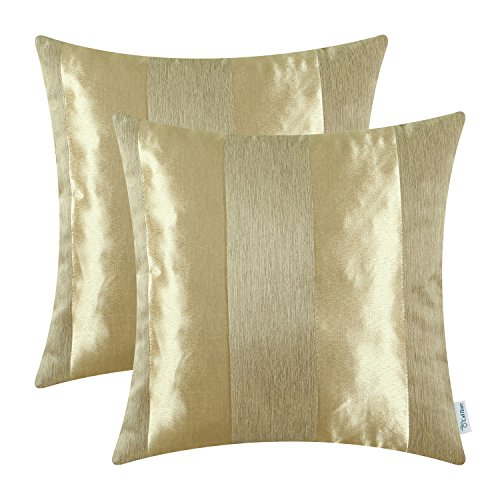 CaliTime Pack of 2 Cushion Covers Throw Pillow Cases Shells Couch Sofa Home Decoration Modern Shining & Dull Contrast Striped 20 X 20 Inches - Solid Insert Gold
