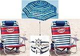 Tommy Bahama Beach 3 Pc Set Plus Bonus: 2 Backpack Beach Chairs and Matching Umbrella (Blue) Plus Bonus Nautical Bracelet