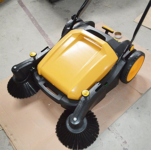 TECHTONGDA 39.5'' Width Triple Brush Walk-Behind Sweeper Push Power Sweeper Pavement Sweeper Portable Cleaner Hard Rubber by TECHTONGDA (Image #6)