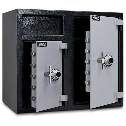 Mesa Safe MFL2731CC All Steel Depository Safe with Two Combination Locks, 6.7-Cubic Feet, Black and Grey