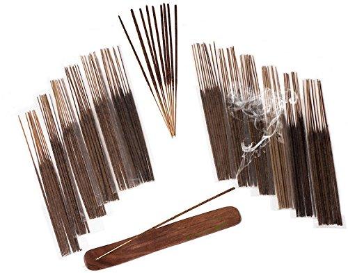 INCENSE & BURNER GIFT SET by Sensari - 120 Long-Burning Sticks - 12 Pure Scents - Vanilla, Sandalwood, Nag Champa