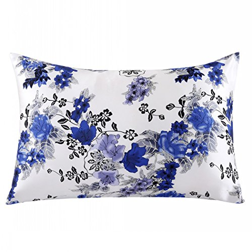 ZIMASILK 100% Mulberry Silk Pillowcase for Hair and Skin Health, Both Side Silk,Floral Print, 1pc (Queen 20x30, pattern1)