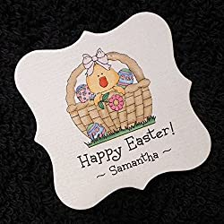 Personalized easter gift tags lets personalize that easter tags chick in basket with eggs 25 personalized 2 x 2 inch negle Choice Image