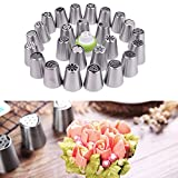 Icing Piping Set ,NeillieN 46pcs Set Large Stainless Steel Cake Decoration Flower Icing Piping Nozzles
