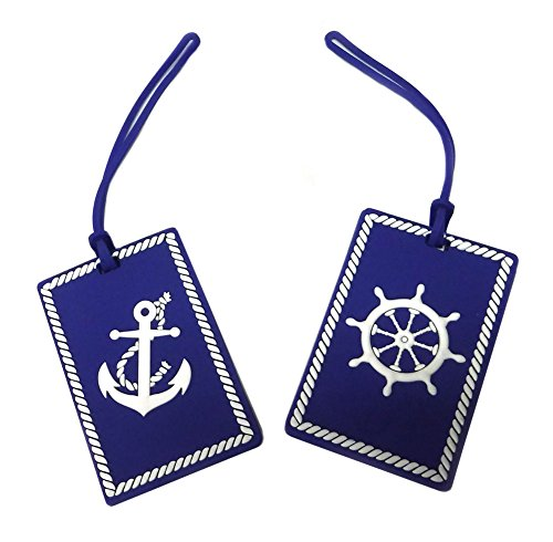 Nautical Anchor and Ship's Wheel Luggage Tags - Set of Two (Blue) (Luggage Theme Tag)