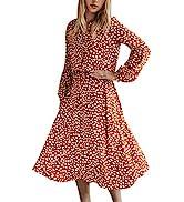 CinShein Womens Casual Wrap Midi Dress Long Sleeves Floral Boho Leopard Polka Dot Flower A Line B...
