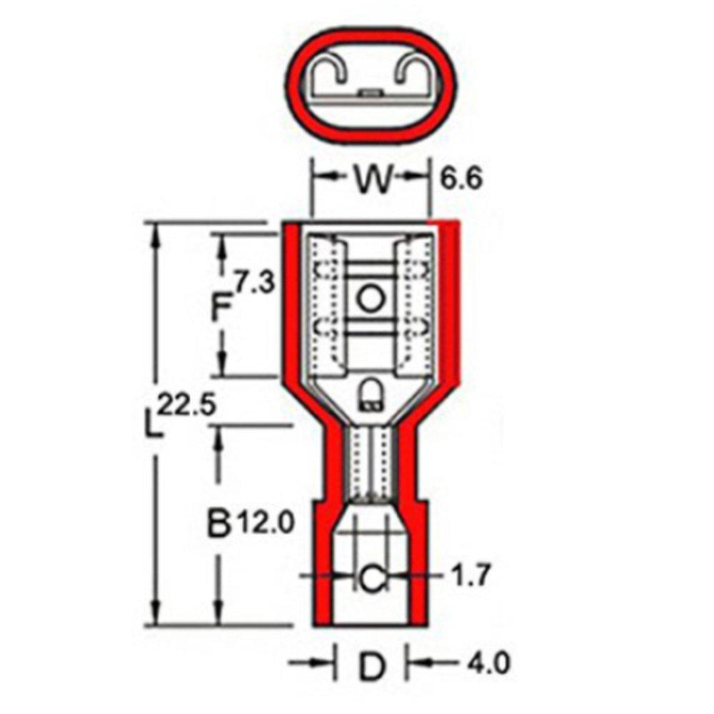 150pcs Red 22-10Gauge, 200pcs Blue 16-14Gauge, 50pcs Yellow 12-10Gauge Onite 400pcs Female Quick Wire Connectors Fully Insulated Nylon Spade Disconnect Crimp,