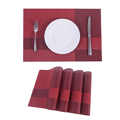 Set of 4 Placemats,Placemats for Dining Table,Heat-resistant Placemats, Stain Resistant Washable PVC Table Mats,Kitchen Table mats.(4, Plaid-red) …