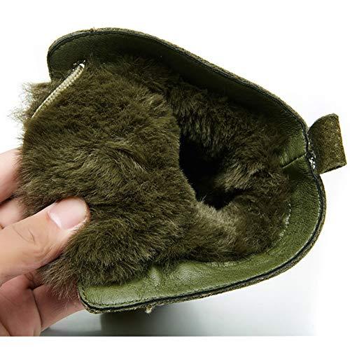 pelle neve Up spessa Calf Martin peluche Donna Mid Green Lace Stivali Inverno da caldo in faw8qP