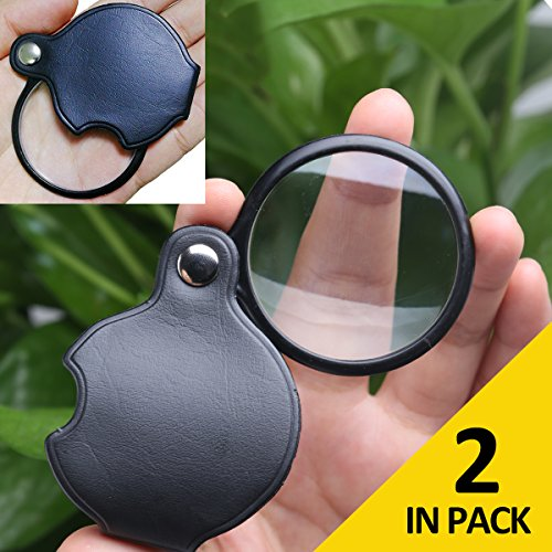 Pack of 2 Portable Magnifier, Lightweight and Pocket Sized 1.8-Inch 2.5X Magnifying Loupe by COSTIN OPTICS