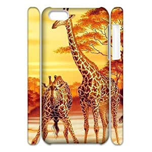 Cell phone 3D Bumper Plastic Case Of Giraffe For iPhone 5C