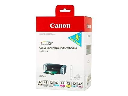 Canon CLI-42 8 Cartuchos Multipack de tinta original BK/GY/LGY/C/M/Y/PC/PM para Impresora de Inyeccion de tinta Pixma PRO100-PRO100S