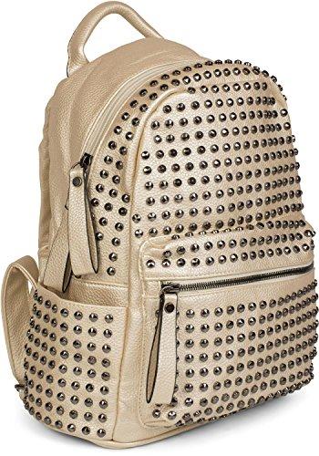 dos avec Noir mains sac 02012226 fermeture Or à pochette sac femmes styleBREAKER couleur à clous à glissière EUnqTwYxZ