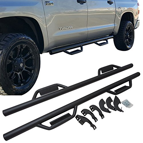 Running Boards Fits 2007-2018 Toyota Tundra | CrewMax Cab Side Step Bar Nerf Bar Black by IKON MOTORSPORTS | 2008 2009 2010 2011 2012 2013 2014 2015 2016 2017 - Toyota Tundra Step