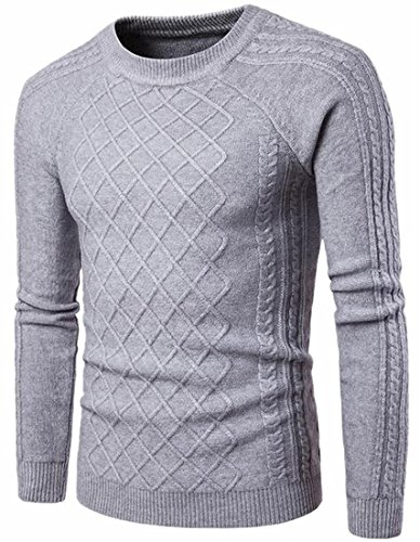 Sweater Crewneck Knit Light Casual TTYLLMAO Twist Solid Cable Mens Grey Color zIPRP8q