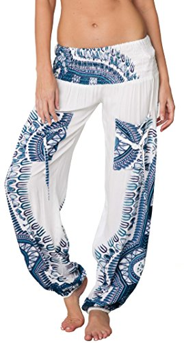 Ingear Smocked Harem Pants Hippie Bohemian Casual Gypsy Print Yoga Baggy Boho (Medium, White/Blue)