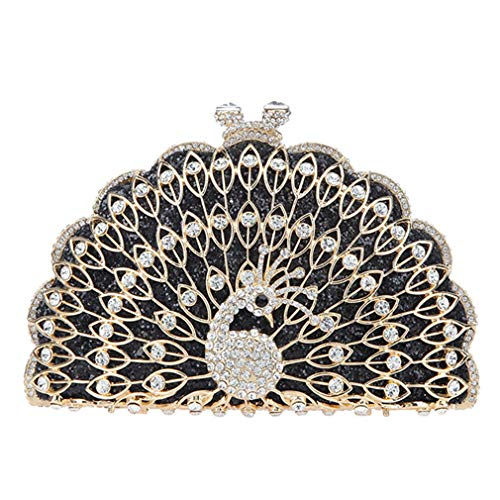And Purses Bags For Peacock Glitter Clutches Bag Evening Women Cute Black Clutch Animal 0YrOvzOqw