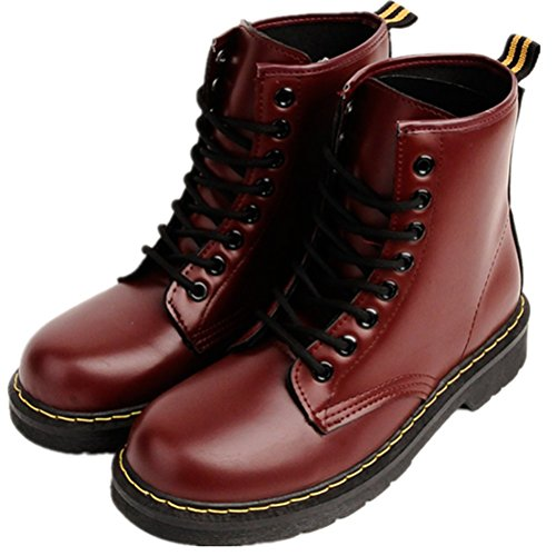 LOVEBEAUTY Women's Faux Leather Lace Up Waterproof Combat Boots Ankle Bootie Burgundy US 7(EU 38) - Leather Waterproof Combat Boots