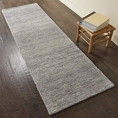 Rivet Contemporary Striated Jute Rug, 7 6 x 2 3 , Silver Birch