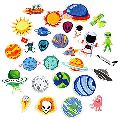 26PCS Iron on Space Patches Planet Patches, Earth Patches, Astronaut Patches,Alien Patches Spaceship Patches Super Set Patch for Kids (Planet Earth Patches)