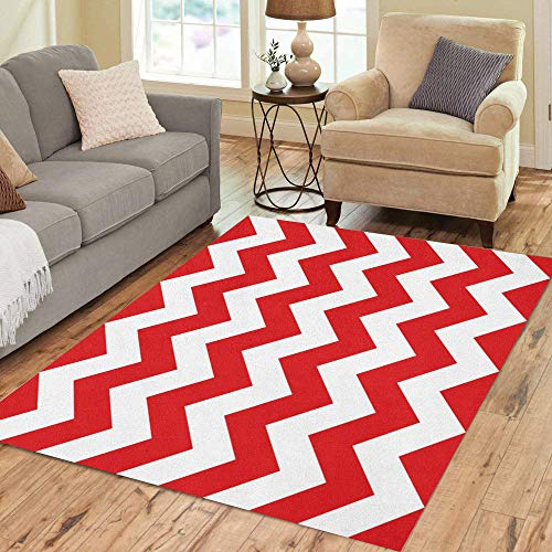 Red Chevron Pattern - Pinbeam Area Rug Colorful White Red Chevron Pattern Stripes Abstract Beautiful Home Decor Floor Rug 3' x 5' Carpet