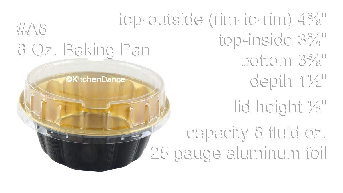 KitchenDance Disposable Colored Aluminum 8 oz. Individual Cake Cups- Tart Pans-Dessert Pans. Color and Lid Options #A8 (100, Black & Gold With Lids) by KitchenDance.com (Image #2)