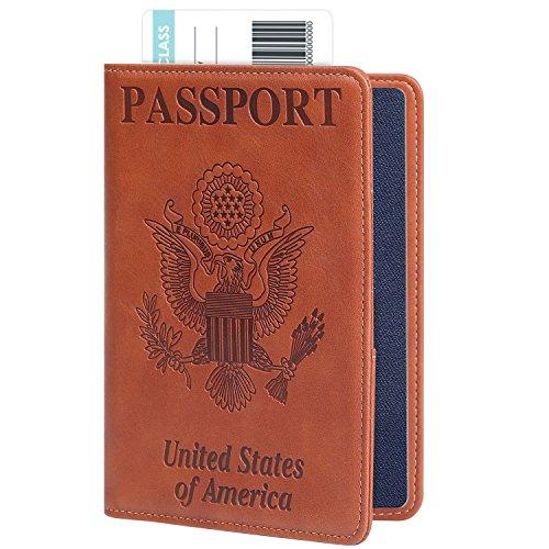 RFID Blocking Passport Holder Cover, Ztotop Premium Leather Travel Passport Holder Wallet Case for Men and Women,Brown Brown Ladies Purse Accessories