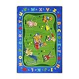 Joy Carpets Kid Essentials Early Childhood Teddy Bear Playground Rug, Multicolored, 5'4'' x 7'8''
