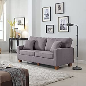 Amazon.com: Divano Roma Furniture 73 – Inch Love Seat Linen Fabric