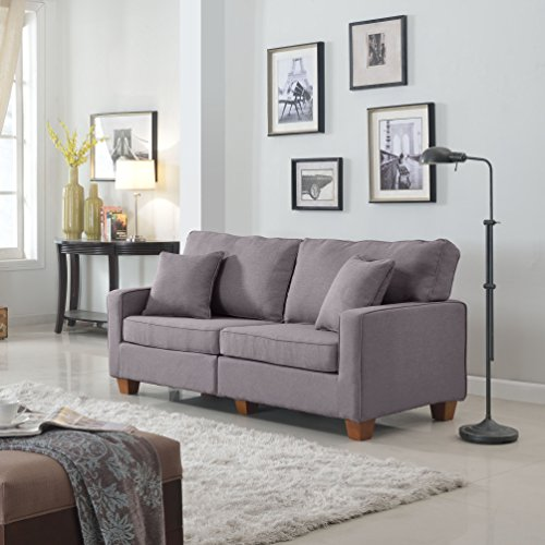 Divano Roma Furniture 73 - Inch Love Seat Linen Fabric Sofa, Light Grey