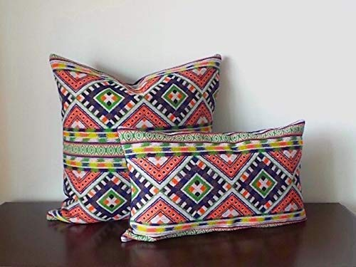 Orange Chevron Pillow Cover Orange Pillow Cover One-Of-A-Kind. Multi-Color Geometric Pillow Cover Tribal Cushion Cover Multi-Color Woven Cushion Cover Blue Cushion Cover