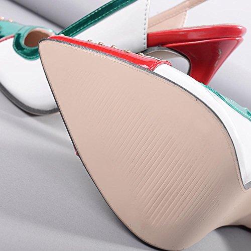L@YC Mujer Zapatos de tacón Elegante Punta Dulce Fine Fine Con Partido Parte Zapatos White